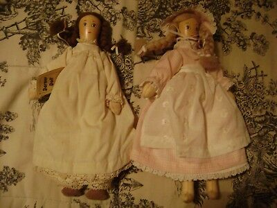Two Darner Dolls 1982 Lucia Byrd Idel 7 and Nell 2 12 Inches