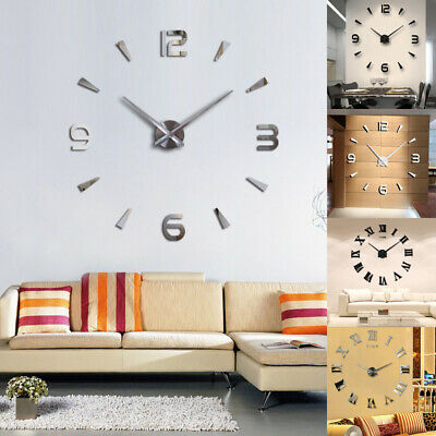 DIY 3D Wall Clock Roman Numerals Large Mirrors Surface Luxury Big Art Clock NEW