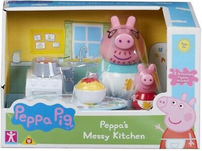 Peppa Pig Messy Kitchen Play Set - Peppa's Cooking Playset Toy + Figures - NEW