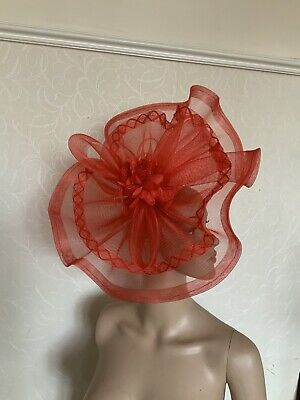 Extra Large Red Statement Fascinator Wedding Ladies Race Day Accessories