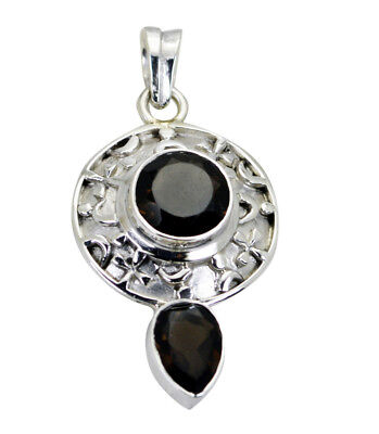enticing Smoky Quartz 925 Sterling Silver Brown Pendant Natural indian US gift