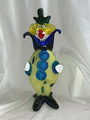 "Vintage Italian Murano Glass Clown Figurine w/ Green Top Hat 11-1/2"" Tall"