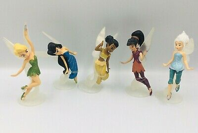 Disney Fairies ~ Pixie Hollow ~ PVC ~ Set of 5 on Stands ~ Great cake toppers!