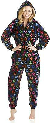 Camille Womens Various Colour Multi-Coloured Paw Print All In One Sleepsuit