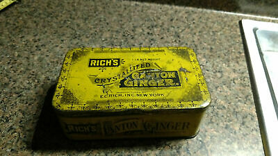 VINTAGE ADVERTISING TIN RICH'S CRYSTALIZED CANTON GINGER TIN Container Box