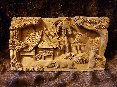 """11"""" HAND CARVED WOOD BAS RELIEF 3D Wall Art Plaque Tiki Polynesian Palm Tree, Ox"""