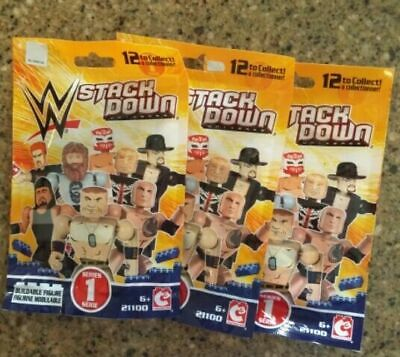 D5 3 New Blindbag Buildable Figures WWE Stackdown Compatible W// Building Blocks