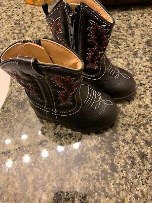 HEALTHTEX  Boots Toddler Size 3 Black Red Zip Western Style Boots Boys Girls