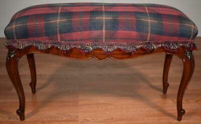 1910s Antique French Louis XV Walnut spring seat Bench New Upholstery