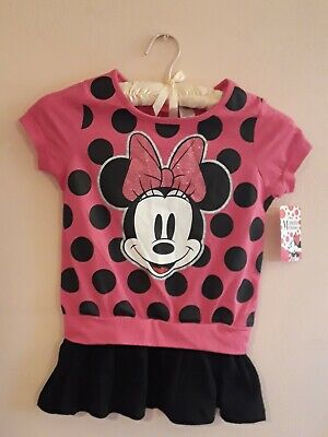 Girls Disney Minnie Mouse Rose Color Top~Glitter Bow~Size M /M 7-8