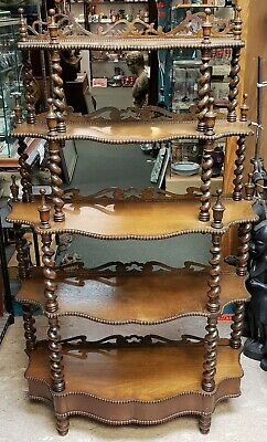 Circa 1870 English Victorian Walnut Five Tier Whatnot