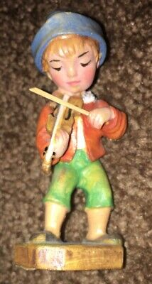 Oberammergau Germany Wood Carved Boy Violin Lang Passion 1980