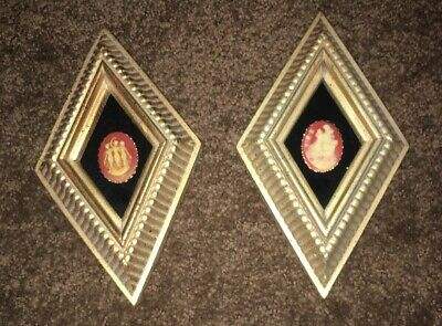 2 Vintage Diamond Gold Framed Cameo Wall Plaques Pictures Muses Greek