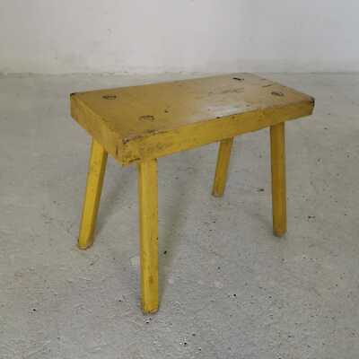 Antique Rustic Yellow Hand-Carved Wooden Tripod Milking Stool or Small Table
