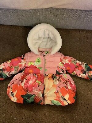 Ted Baker Baby Girls Hooded Winter Padded Pink Floral Coat Age 12-18 Months