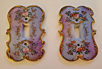 Vtg 50s/60s PAIR PURPLE FLORAL CERAMIC LIGHT SWITCH COVERS Japan ROSES GOLD
