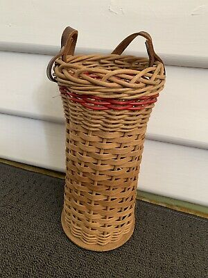 Vintage Bottle / Wine Carrier - Leather Strap - Wicker & Wood