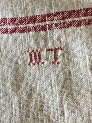 Vintage  French rustic monogrammed linen tablecloth
