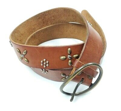 American Eagle AEO Women's Genuine Leather Brown Belt Large Brass Buckle Studs