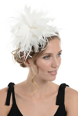 Zac's Alter Ego Large White Fur & Feather Fascinator On Clip & Brooch Pin