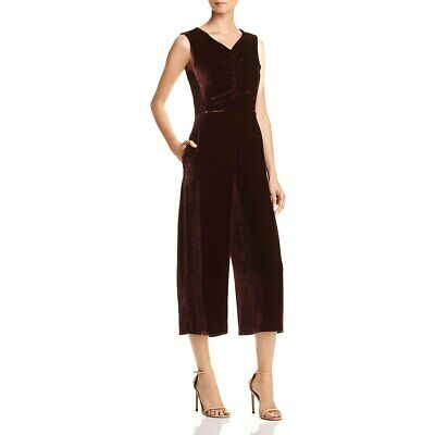 NWT Rebecca Taylor Dark Maroon Red Velvet Ruched Sleeveless Jumpsuit Sz 10 $595
