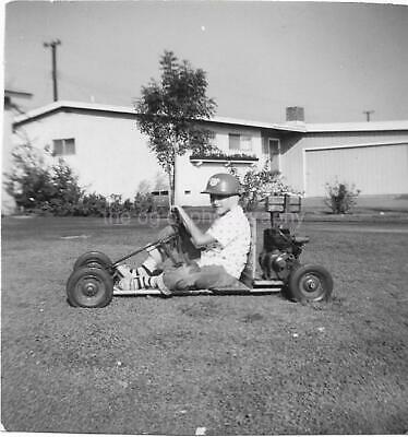 GO CART KID Vintage FOUND PHOTO Boy bw FREE SHIPPING Original Snapshot 01 33 Y
