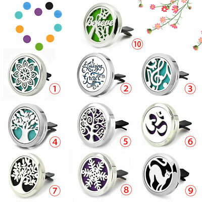 10Types Stainless Car Air Vent Freshener Essential Oil Diffuser Locket Car