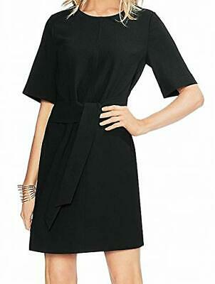 Vince Camuto Womens Short Sleeve Parisian Crepe Belted Dress Rich Black 6