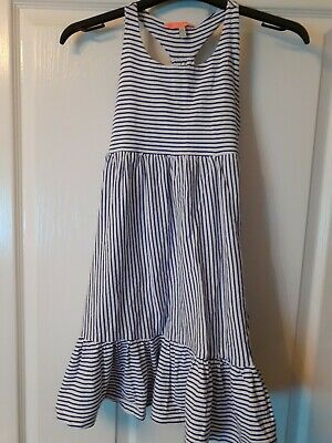 Joules Girl's Summer Dress Age 7-8. White With Navy Stripe 100% Cotton.worn Once