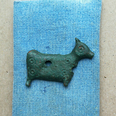 Ancient Viking Bronze Artifact Zoomorphic COW with Solar Runes SUPER RARE