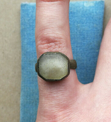 Ancient Viking Old Bronze Ring With White Glass Very Rare