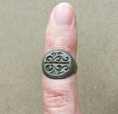 Ancient Viking Small White Bronze FABULOUS STATUS Ring Runic Ornament VERY RARE