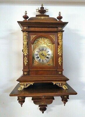 Antique Junghans 8 Day Walnut & Gilt Bronze Large Bracket Clock