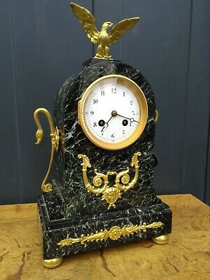 Antique French marble and gilt bronze mantel clock w. eagle - Japy Frerès