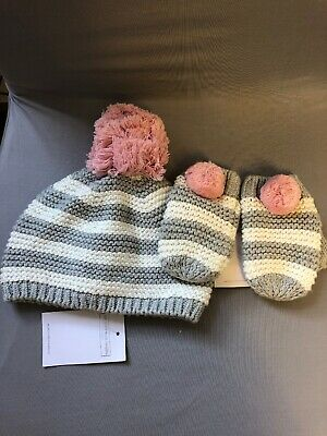 The Little White Company Girls 1-3 Years Hat And Mittens