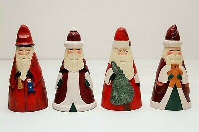 LOT OF 4 FOLK ART Hand Carved Hand Painted Wood Santa Figures by Gerald Lesher