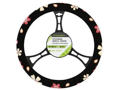 Carmotion Steering Wheel Cover PU Made Size M Black/Flowers