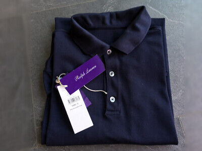 RALPH LAUREN Purple Label Pique Polo Shirt Size S navy (RLPL 48 Hemd)