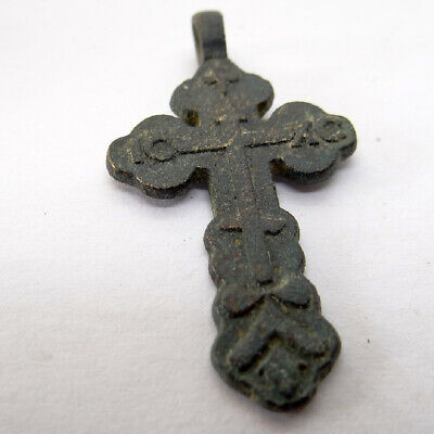Old Russian Ancient Artifact Bronze Cross Ic Xc