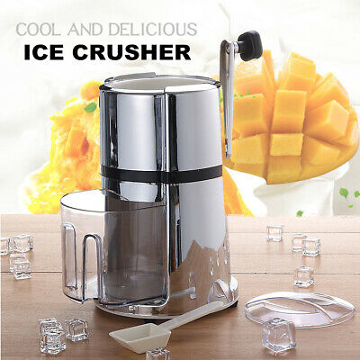 Manual Hand Ice Cube Crusher Shaver Shredding Snow Cone Maker Machine Bar