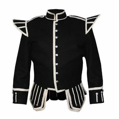 100% Blazer Wool New Military Piper Drummer Doublet Tunic Pipe Band Black Jacket