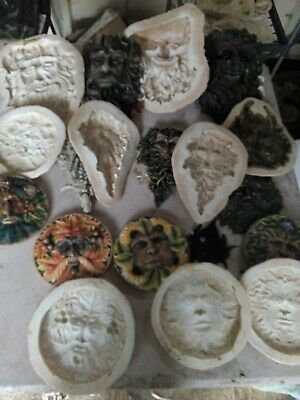 9 Green man wall plaques latex moulds garden, home ornaments 23 to 14 cm NEW!!
