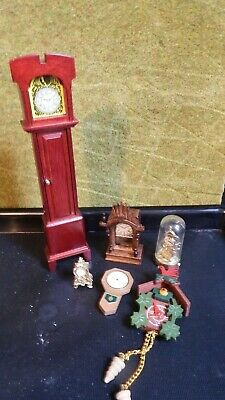 6 doll house assortment job lot of  mixed clocks items 1.12th JB
