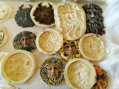 6 Green man wall plaques latex moulds garden, home ornaments 23 to 14 cm NEW!!