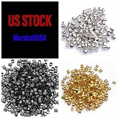 200PCS Crimp Beads Tubes Silver/gold/gunmetal 1.5 or 2 mm jewelry necklace craft