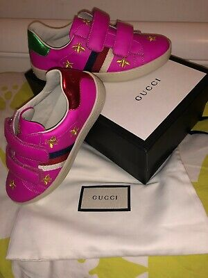 🎁New Authentic Gucci Kids Girls Pink Traniers Size 31