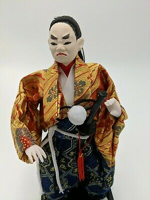 "Vintage Japanese Handmade Samurai Warrior Doll 12"" Gold Blue"