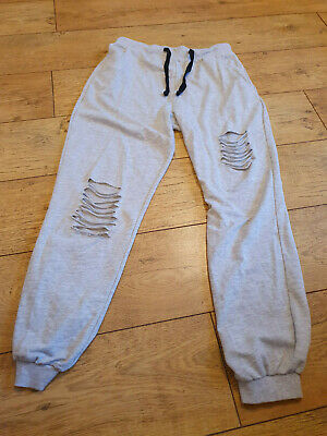 Joggers, Grey, Ripped, Elasticated Waist with Black Tie, Size 12, ASOS