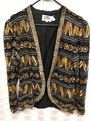 Vtg Nite Line Fully Sequin Beaded Silk Jacket Sz M Gold Silver Multicolored