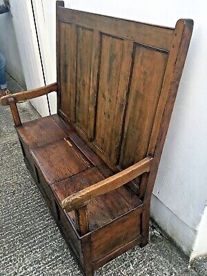 Antique 19th Century Welsh Stained Pine Settle / Bench with Lift Up Seat Storage
